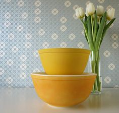 SALE 20% Off Two Vintage Yellow Milk Glass Mixing Bowls by