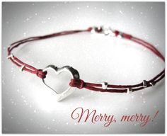 Sterling silver floating #heart on #red linen #bracelet from JewelryByMaeBee on #Etsy. www.jewelrybymaebee.etsy.com