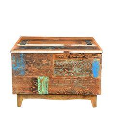 Truhe kiste box schatztruhe indien holz massiv shabby chic for Echtholztisch wohnzimmer