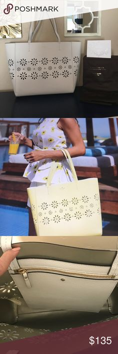 Kate Spade Faye Drive Hallie Tote Constructed from soft pebbled leather, decorated with cut out daisies. Carry everything in this large tote! Nice large zippered pouch inside bag. Comes with dust bag. Authentic & Brand New! No lowball offers! Priced to sell. kate spade Bags Totes