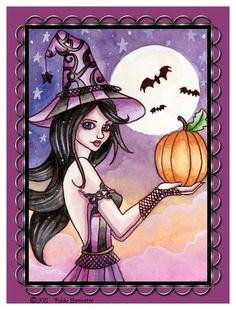 Gothic Witch Magnet Fantasy Art Halloween Pumpkin by aurella27 Witch Painting, Halloween Painting, Halloween Cat, Halloween Pumpkins, Halloween Ideas, Happy Halloween, Witch Pictures, Halloween Pictures, Witch Pics