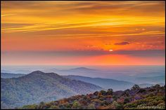 Sunrise from Skyline Drive, Shenandoah National Park, Virginia  #South #Southern