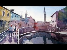 Watercolor Tutorial - How to simplify the scene in a Venice painting - D...