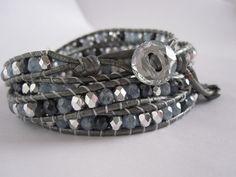 Blue Jean Mix in Silver Leather Wrap Bracelet by TheSterlingCharm, $49.00
