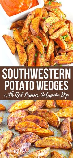 This roasted potato appetizer recipe is spiked with southwestern spices and served alongside a healthy roasted red pepper jalapeño dip. 102 calories and 3 Weight Watchers SP | Recipes | Easy | For Party | Vegan | Plant Based | Snacks #plantbased #veganappetizers #roastedpotatoes #roastedpepper