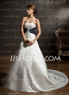 Ball-Gown Sweetheart Chapel Train Satin Wedding Dress With Embroidery Sashes Beadwork (002004584)