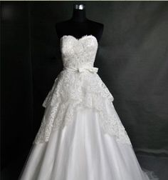 Vintage Lace Wedding Dress Bridal Gown Strapless Sweetheart Plus Size Tulle Wedding Dress with Train Buttons Back Bow Sash. $307.00, via Etsy.