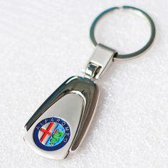 Fashion Car Key Rings for ALFA ROMEO Mito GT 147 156 159 166 Giulietta Spider Parallel-chord Alloy Car Emblem Keychain Key Chain