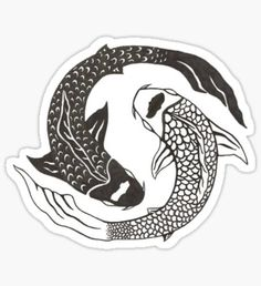 Hipster stickers featuring millions of original designs created by independent artists. Coy Fish Tattoos, Yin Yang Tattoos, Cute Tattoos, New Tattoos, Tatoos, Coi Fish, Avatar Tattoo, Anatomy Images, Fish Icon