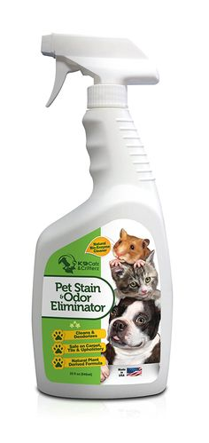 Natural Enzyme cat Stain and cat Odor Eliminator. Professional Strength Cleaner for Stain and Odor Removal. cat Carcat Cleaner Spray Solution for Dog and Cat Urine Stains. 32oz. By K9 Catz and Critterz *** Additional details at the pin image, click it  - Cat litter