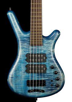 Warwick Custom Shop Corvette $$ 5 String Bass, Bleached Blue Oil