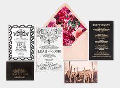 Lace & Letterpress Wedding Invitation / Black & White / Gold Foil on Black / Vintage Cactus Print / Bliss & Bone