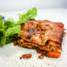 Høstlasagne med linser, sopp og soltørket tomat Gnocchi, Cheddar, Tofu, Vegetarian, Vegan, Ethnic Recipes, Green, Lasagna, Cheddar Cheese
