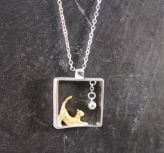 Silberketten - ♥ Kette spielendes Kätzchen 925 Silber bicolor - ein Designerstück von zuckerputzig bei DaWanda