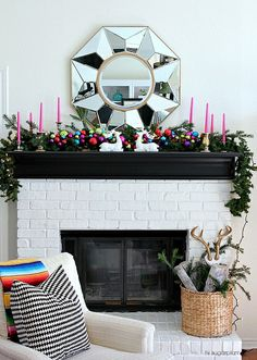 Hi Sugarplum | Colorful Christmas Mantel