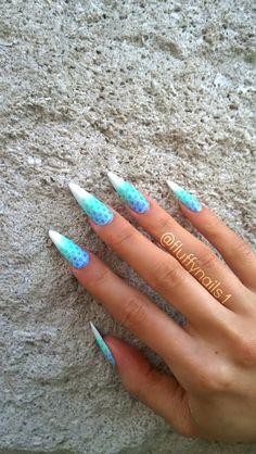 mermaid stiletto ombre nails