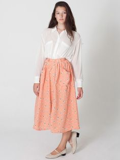 Polyester Button Up Long Skirt