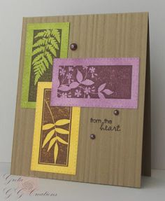 handmade card from GG Creations ... Autumn theme ... like the leaf negatived space stamps and die cut frames with pierced dot boders ...