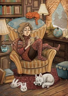 Books, Cats, Coffee, Dogs, and a Cozy Library.  Is there anything nicer or more comfortable?