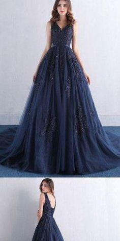Dark Blue V Neck A Line Appliques Tulle Long Prom Dress,Evening Party Dress,PDY0374 #prom dress#