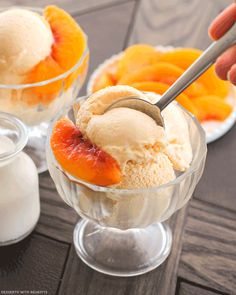 Healthy Peaches and Cream Ice Cream (refined sugar free) - Healthy Dessert Recipes at Desserts with Benefits