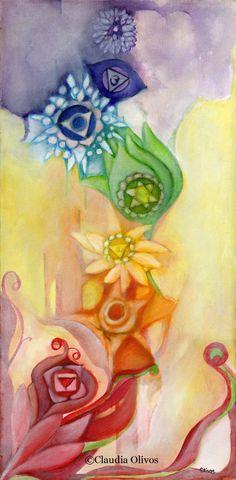 Meditation Art Chakra art Chakra Colors Chakra by OlivosARTstudio Art Chakra, Chakra Painting, Chakra Symbols, Chakra Healing, Les Chakras, Chakra Colors, Healing Meditation, Meditation Space, Meditation Images