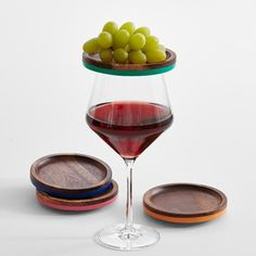wooden wine glass appetizer tray set