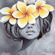 plumeria by aalmaluar on DeviantArt Girl Drawing Sketches, Girly Drawings, Art Drawings Sketches Simple, Illustration Art, Illustrations, Diy Canvas Art, Flower Art, Amazing Art, Watercolor Paintings