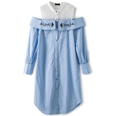 Light Blue Cold Shoulder Embroidered Paneled Shirt Dress (€100) ❤ liked on Polyvore featuring dresses, vestidos, cold shoulder shirt dress, cut-out shoulder dresses, long shirt dress, blue cold shoulder dress and shirt dresses