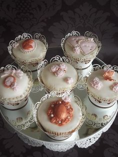 Ivory, Pink and Bronze wedding themed cupcakes by Sweetpea cakes and Treats, via Flickr