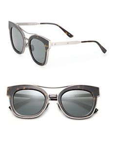 Bottega Veneta - 50MM Rounded Rectangle Metal Sunglasses