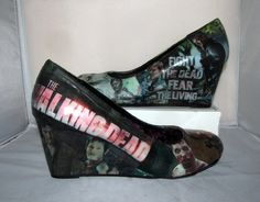 The Walking Dead Daryl Dixon Norman Reedus Zombie Wedge Heels - Made to Order on Etsy, $80.00