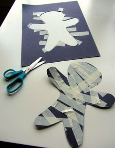 Mummy craft - ripping tape is great for fine motor...never realized this until I tried it with a child!