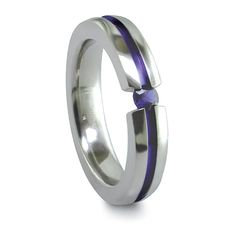 Titanium & Sapphire Stackable Ring by Edward Mirell - $145.00 - tension set with a genuine 3mm blue sapphire. #TitaniumJewelry #EdwardMirell