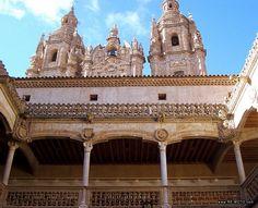 Las torres de La Clerecía de Salamanca, vistas desde el patio de la Casa de las Conchas.Salamanca (Spain)
