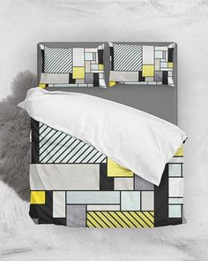Random Concrete Pattern - Yellow, Blue, Gray // Duvet Cover + Pillow Shams by Zoltan Ratko // This pattern design is also available as a wall art, apparel, tech and home product. Bedroom Loft, Cozy Bedroom, Master Bedroom, Pillow Shams, Pillows, Grey Duvet, Geometric Pillow, Luxury Bedding Sets, Pillow Covers