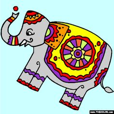 Ornate Elephant Folk Art Coloring Page