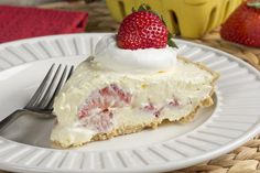 Strawberry Cream Pie | MrFood.com sugarless whipped topping,sugarless pudding mix, unsugared berries