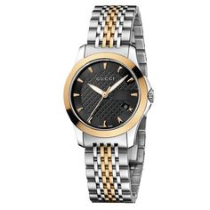 Gucci Womens YA126512 Gucci timeless Steel and Pink PVD Black Dial Watch