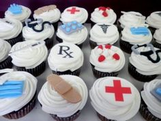 Doctor/nurse Cupcakes Cupcakes iced in buttercream with fondant doctor and nurse accessories. Nurse Cupcakes, Fondant Cupcakes, Cupcake Art, Cupcake Ideas, Pastry Recipes, Celebration Cakes, Birthday Fun, Party Time, Goodies