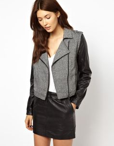 Greylin | Greylin Monroe Motorcycle Jacket with Faux Leather Sleeves at ASOS