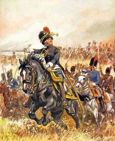 Napoleon's horse grenadiers charge Allied lines. Waterloo 1815, Battle Of Waterloo, Military Art, Military History, Bataille De Waterloo, Arm Armor, French Army, Napoleonic Wars, Napoleon