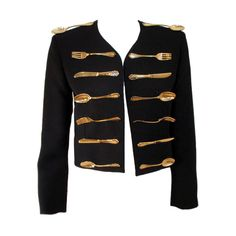 Moschino Couture Black Wool Crop Jacket w/ Gold Silverware