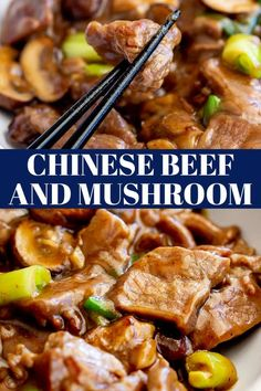 In this Takeout Style Chinese Beef and Mushrooms Stir Fry, the beef is cooked together with plenty of mushrooms, green onions and a delicious savory brown Chinese sauce. This takeaway style Chinese recipe is healthy and quick to make, and it tastes Chinese Sauce Recipe, Chinese Beef Recipes, Homemade Chinese Food, Mongolian Beef Recipes, Roast Beef Recipes, Onion Recipes, Italian Recipes, Beef And Mushroom Recipe, Mushroom Stir Fry