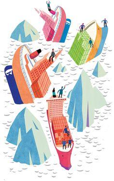 #paulboston #meiklejohn #illustration #digital #stylised #ship #sinkingship #travel #transport #iceberg