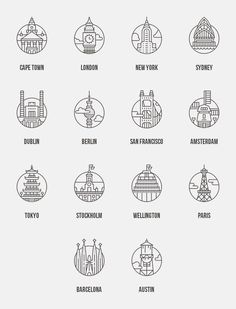 Worker's Field Guide / adam whitcroft - - Kochen -Web Worker's Field Guide / adam whitcroft - - Kochen - 24 Cities design More World landmark line art icons set by Microvector on Asian Capitals Icon Set by bhj on . Icon Design, Web Design, Logo Design, Graphic Design, Emoticon, It Icons, Field Guide, Line Icon, Icon Set