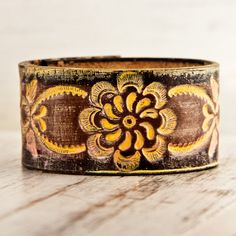 Floral Accessory Tooled Leather Cuff by rainwheel on Etsy, $35.00