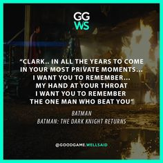 It was with those words at Comic-Con 2013. Director Zack Snyder officialy announced Batman v Superman: Dawn of Justice. Actor Harry Lenix read those line,  from Frank Miller's The Dark Knight Returns.
