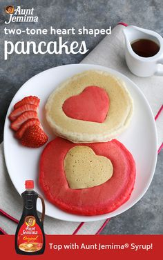 Show your love with a colorful batch of heart-shaped pancakes. Make with Aunt Jemima® Original Complete Mix and top with Aunt Jemima® syrup! Valentines Day Treats, Holiday Treats, Holiday Recipes, Think Food, I Love Food, Cute Food, Yummy Food, Heart Shaped Pancakes, Creative Food