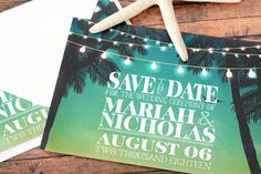 Twilight Palms Save the Date cards - perfect for a seaside wedding. By LabelsRus
